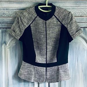 Etcetera Black and White Peplum Front Zip Top